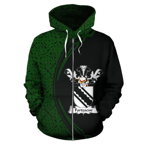 Fortescue Family Crest Zip Hoodie Irish Circle Style