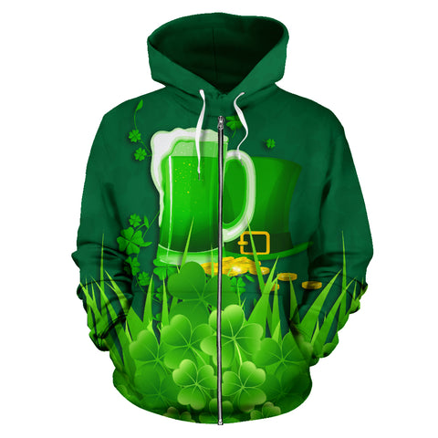 Ireland St Patrick's Day Zip Up Hoodie, Irish Beer Shamrock Zipper Hoodie Green front - 1st Ireland
