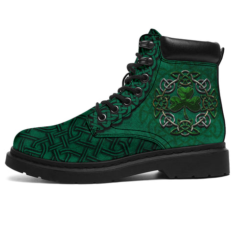 Irish All Season Boots, Ireland Celtic Shamrock Boots Green