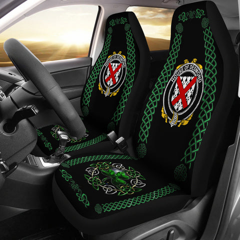 Image of Desmond Ireland Shamrock Celtic Irish Surname Car Seat Covers | 1st Ireland