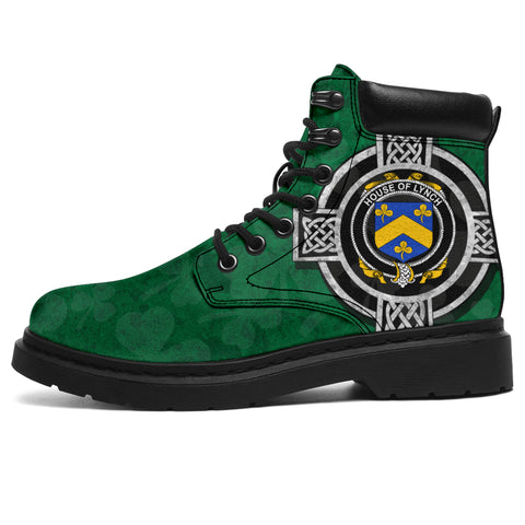 Irish All Season Boots, Lynch Family Crest Shamrock 6-inch Boots