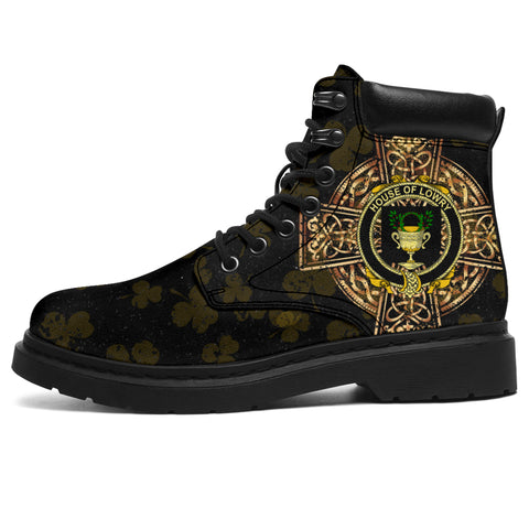 Lowry or Lavery Family Crest Shamrock Gold Cross 6-inch Irish All Season Boots | 1st Ireland