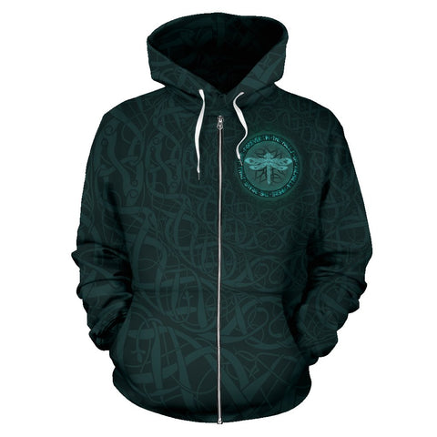 Celtic All Over Zip-Up Hoodie - Dragon Fly | 1stireland.com