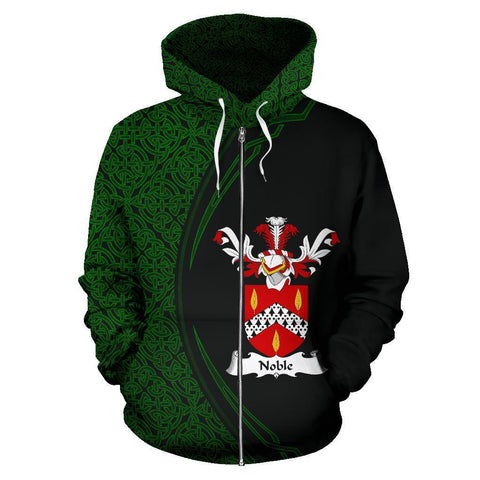 Image of Noble Family Crest Zip Hoodie Irish Circle Style