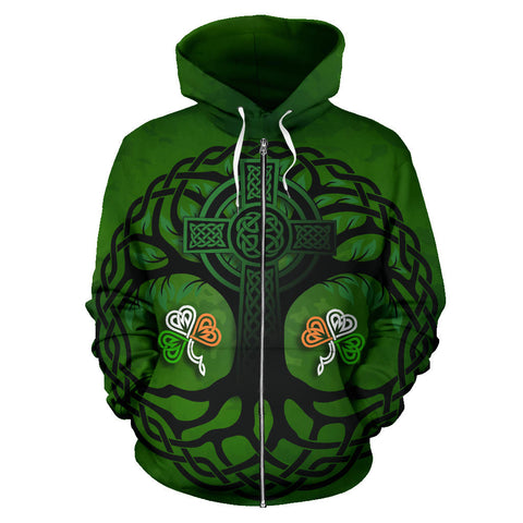 Celtic Cross Tree of Life Zip Hoodie - Ireland Shamrock front