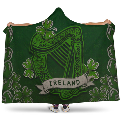 Irish Harp With Shamrock Hooded Blanket - Dark Green Color 1
