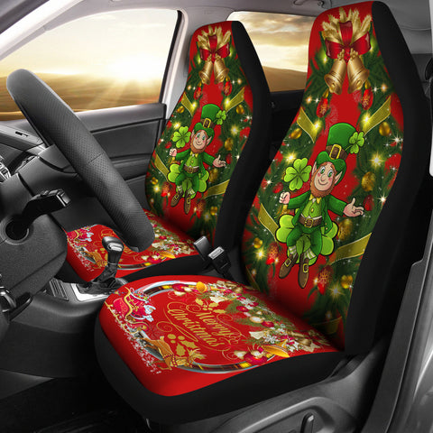 Merry Christmas St. Patrick Shamrock Car Seat Covers ( Set Of 2 )