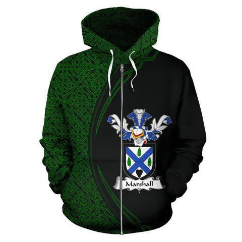 Marshall Family Crest Zip Hoodie Irish Circle Style