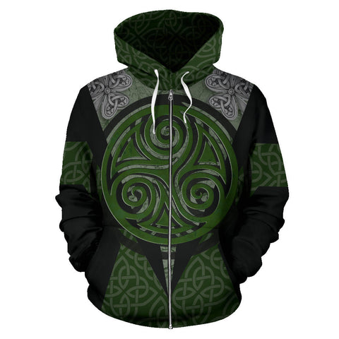 Irish Celtic Spiral Knot Zip Hoodie - Black Color - Front