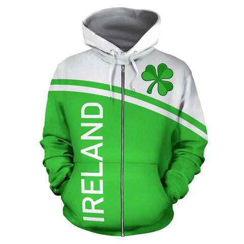 Ireland All over Zip-Up Hoodie - Curve Version | 1stireland.com