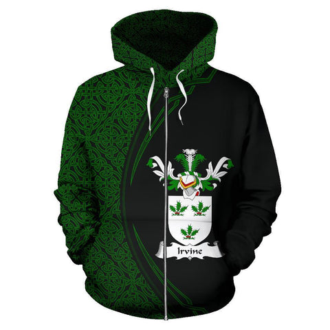 Image of Irvine Family Crest Zip Hoodie Irish Circle Style