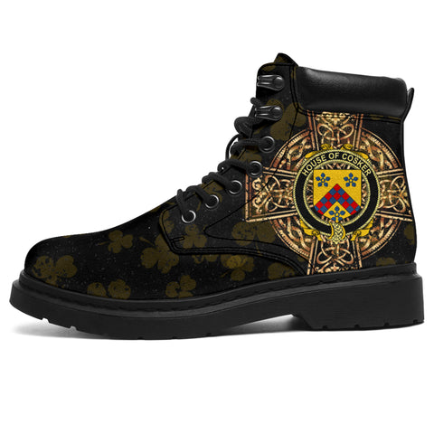 Image of Cosker or McCosker Family Crest Shamrock Gold Cross 6-inch Irish All Season Boots | 1st Ireland
