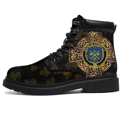Image of Fennelly or O'Fennelly Family Crest Shamrock Gold Cross 6-inch Irish All Season Boots | 1st Ireland