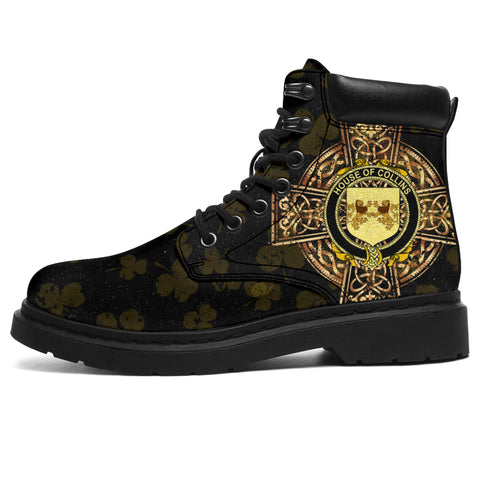Image of Collins Family Crest Shamrock Gold Cross 6-inch Irish All Season Boots | 1st Ireland