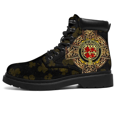 Image of McTiernan or Kiernan Family Crest Shamrock Gold Cross 6-inch Irish All Season Boots | 1st Ireland