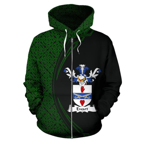 Image of Ewart Family Crest Zip Hoodie Irish Circle Style