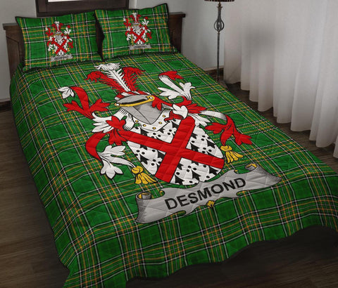 Desmond Ireland Quilt Bed Set Irish National Tartan | Over 1400 Crests | Home Set | Bedding Set