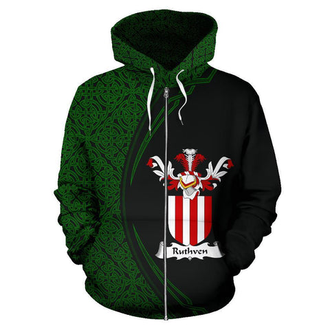 Image of Ruthven Family Crest Zip Hoodie Irish Circle Style
