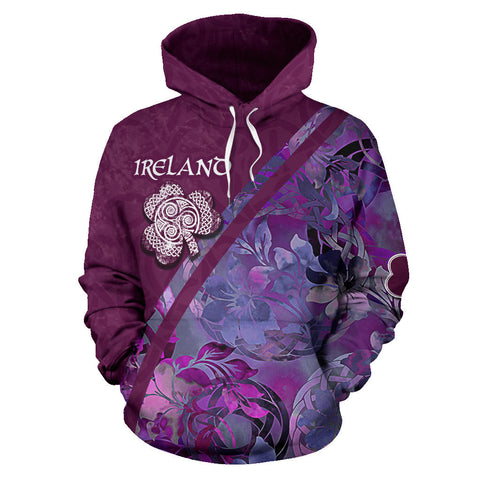 Irish Shamrock Celtic Garden Amethyst Hoodie - Front for Men and Women