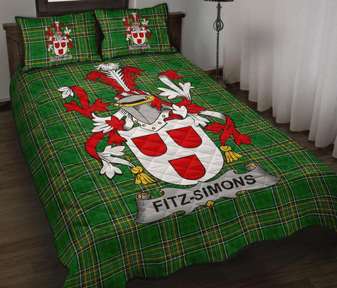 Fitz-Simons Ireland Quilt Bed Set Irish National Tartan | Over 1400 Crests | Home Set | Bedding Set