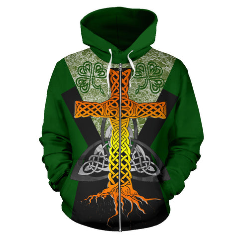 Irish Celtic Cross With Knot Symbol Zip Hoodie - Green Color - Front