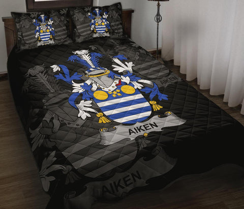 Image of Irish Quilt Bed Set, Aiken Family Crest Premium Quilt And Pillow Cover A7