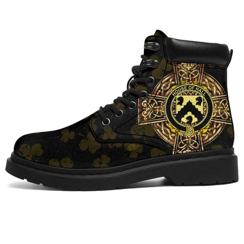 Image of Hall or MacHall Family Crest Shamrock Gold Cross 6-inch Irish All Season Boots | 1st Ireland