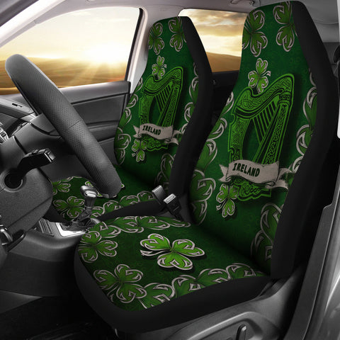 Image of Irish Harp Car Seat Covers - Dark Green Color 2