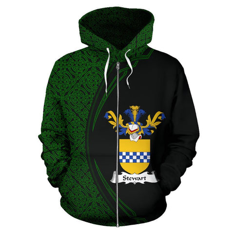 Image of Stewart Family Crest Zip Hoodie Irish Circle Style