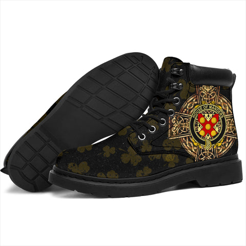 Manders Family Crest Shamrock Gold Cross 6-inch Irish All Season Boots K6