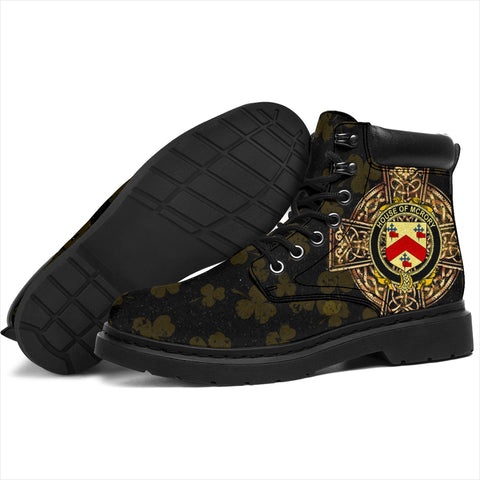 McRory or McCrory Family Crest Shamrock Gold Cross 6-inch Irish All Season Boots K6