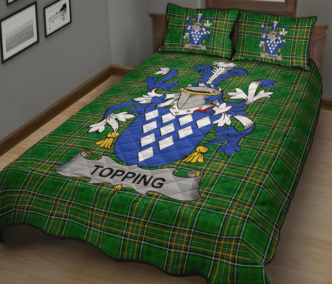 Topping Ireland Quilt Bed Set Irish National Tartan | Over 1400 Crests | Home Set | Bedding Set