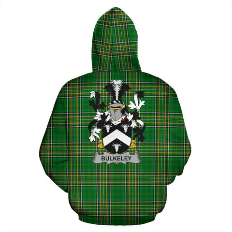 Bulkeley Ireland Hoodie Irish National Tartan (Pullover) | Women & Men | Over 1400 Crests