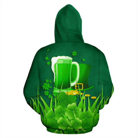 Ireland St Patrick's Day Zip Up Hoodie, Irish Beer Shamrock Zipper Hoodie Green back - 1st Ireland