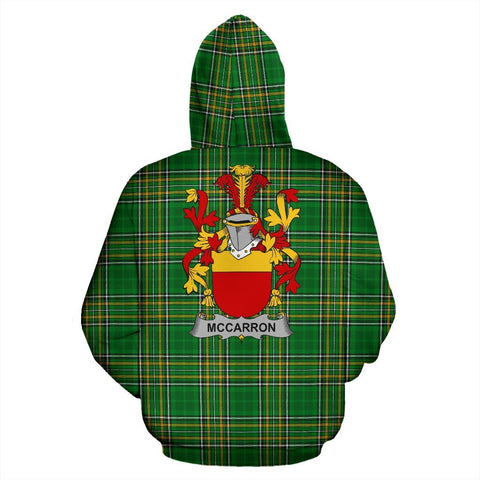 McCarron Ireland Hoodie Irish National Tartan (Pullover) | Women & Men | Over 1400 Crests