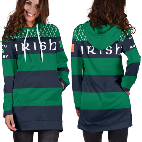 Rugby Hoodie Dress - Croker Green and Navy Traditional - Green - Front and Back - For Women