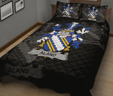 Irish Quilt Bed Set, Aland Family Crest Premium Quilt And Pillow Cover A7