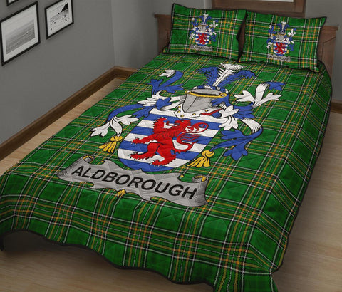 Image of Aldborough Ireland Quilt Bed Set Irish National Tartan | Over 1400 Crests | Home Set | Bedding Set