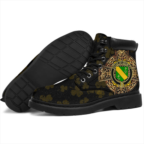 Image of Grumley Family Crest Shamrock Gold Cross 6-inch Irish All Season Boots K6
