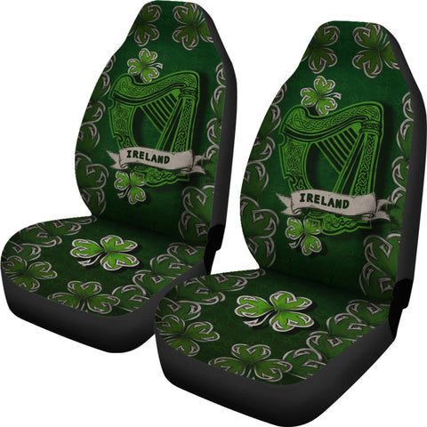 Image of Irish Harp Car Seat Covers - Dark Green Color 1