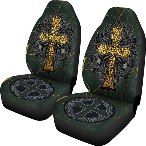 Image of Celtic Cross Inner Gold Car Seat Covers (Set of 2) - Universal Fit - TH7