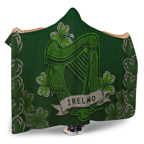 Irish Harp With Shamrock Hooded Blanket - Dark Green Color 2