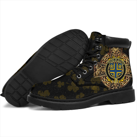 Acotes Family Crest Shamrock Gold Cross 6-inch Irish All Season Boots K6