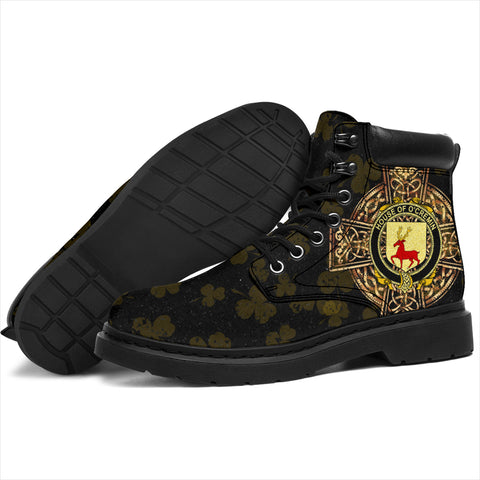 Image of Cremin or O'Cremin Family Crest Shamrock Gold Cross 6-inch Irish All Season Boots K6