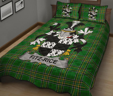 Fitz-Rice Ireland Quilt Bed Set Irish National Tartan | Over 1400 Crests | Home Set | Bedding Set
