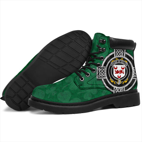 Irish All Season Boots, Dillon Family Crest Shamrock 6-inch Boots