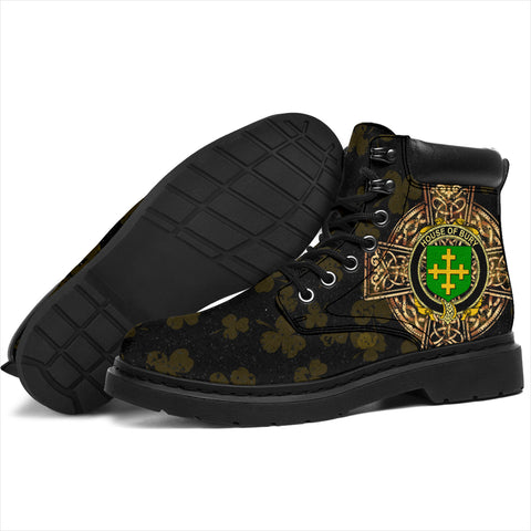 Image of Bury or Berry Family Crest Shamrock Gold Cross 6-inch Irish All Season Boots K6