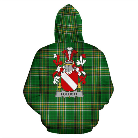 Folliott Ireland Hoodie Irish National Tartan (Pullover) | Women & Men | Over 1400 Crests