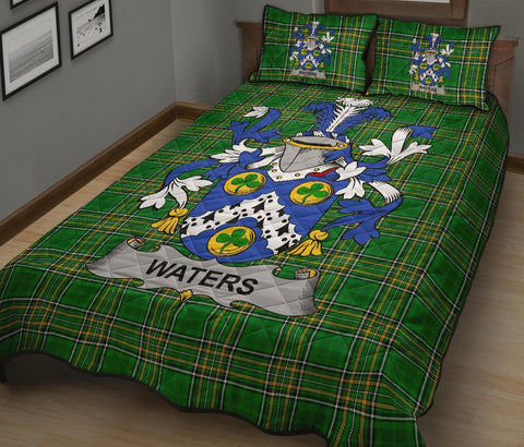 Image of Waters Ireland Quilt Bed Set Irish National Tartan | Over 1400 Crests | Home Set | Bedding Set
