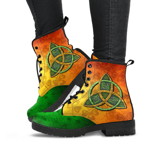 Irish Shamrock Boots, Ireland Celtic Trinity Knot Leather Boots TH5